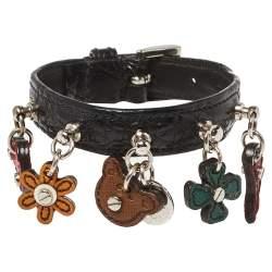 Prada Black Leather Charm Buckle Bracelet