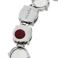 Prada Silver Tone Crystal Embellished Statement Necklace