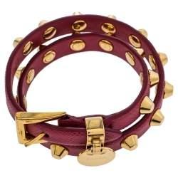 Prada Peonia Saffiano Leather Studded Gold Tone Double Wrap Bracelet M