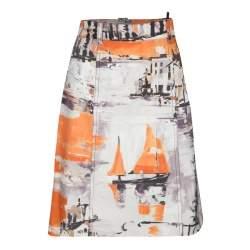 Prada Multicolor Oil Paint Effect Printed Denim Skirt S