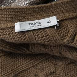Prada Brown Metallic Coated Cable Knit Wool and Cashmere Cardigan S