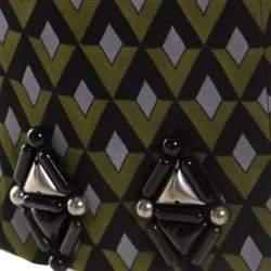 Prada Green Geometric Pattern Silk Embellished Hem Detail Trousers M