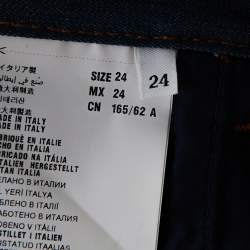 Prada Blue Denim Leather Trim Straight Leg Jeans S