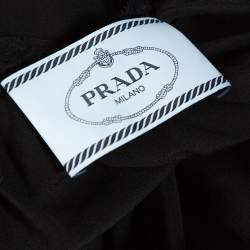 Prada Black Silk Lace Trim Ruffled Midi Dress M