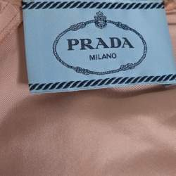 Prada Pale Peach Silk Faille Belted Flared Dress S