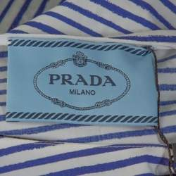 Prada Blue & White Striped Cotton Belted Knee Length Dress M