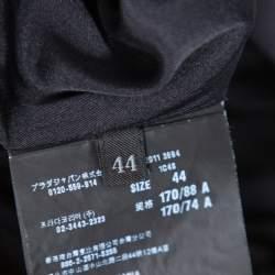 Prada Black & White Polka Dotted Crepe Pleat Detail Dress M