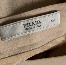 Prada Beige Silk Blend Flared Crepe Trousers L
