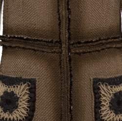 Prada Brown Wool Tweed Embellished Long Coat L