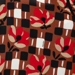 Prada Multicolor Printed Mock Neck Blouse M