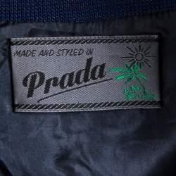 Prada Teal Blue Hawaiian Printed Cotton Pique Collared Tunic S