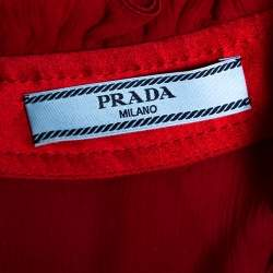 Prada Red Chiffon Ruffle Detail High Neck Button Front Top S