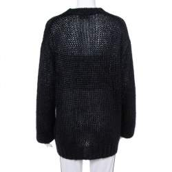 Prada Black Wool Oversized Crewneck Sweater M