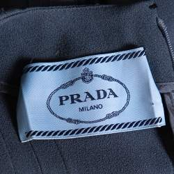 Prada Grey Crepe Ruffle Detail Paneled Bleu Dress S