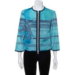 Prada Blue Abstract Print Perforated Zip Front Jacket L