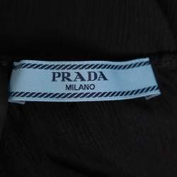 Prada Black Silk Feather Trim Detail Cropped Trousers S