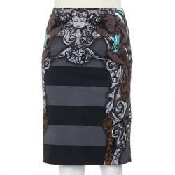 Prada Grey Cherub Printed Cotton Knee Length Skirt S