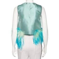 Prada Blue Wool & Silk Feather Trim Sleeveless Top S