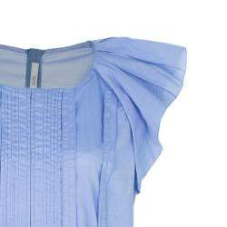 Prada Light Blue Pleated Detail Top XL