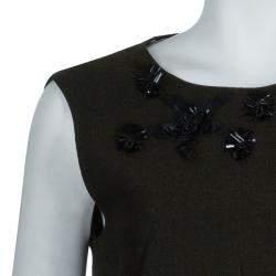 Prada Green Tweed-Velvet Embellished Dress M