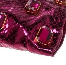 Prada Metallic Pink Python Whips Pietre Clutch