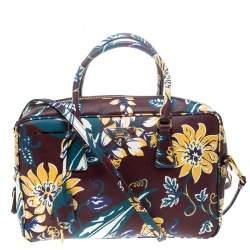 Prada Burgundy Saffiano Print Leather Top Handle Bauletto Bag