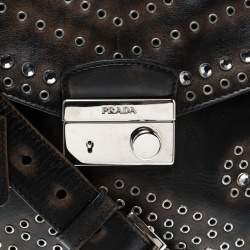 Prada Dark Brown Vitello Vintage Leather Eyelet Crystal Embellished Top Handle Bag