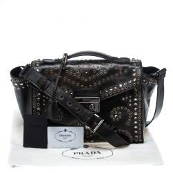 Prada Dark Brown Vitello Vintage Leather Eyelet Crystal Embellished Top Handle Bag