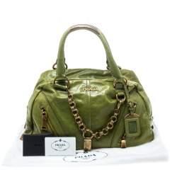 Prada Green Vitello Shine Leather Bowler Bag