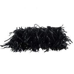 Prada Black Vitello Shine Leather Fringe Shoulder Bag