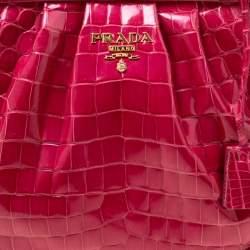 Prada Pink Crocodile Frame Top Handle Bag