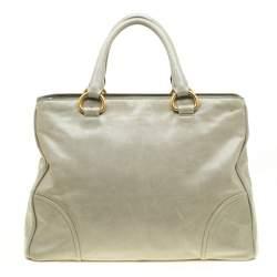 Prada Pale Green Glazed Leather Top Handle Bag