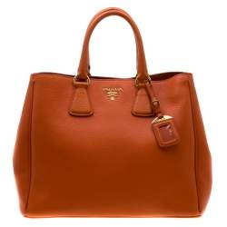 Prada Orange Leather Large Open Tote