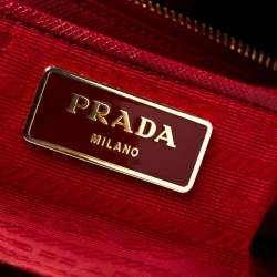 Prada Red Saffiano Lux Leather Large Double Zip Tote