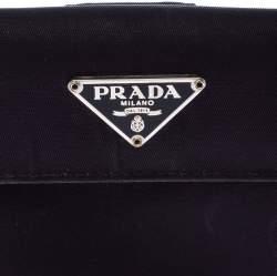 Prada Navy Blue Nylon Flap Compact Wallet