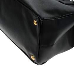 Prada Black Saffiano Lux Leather Large Double Zip Tote