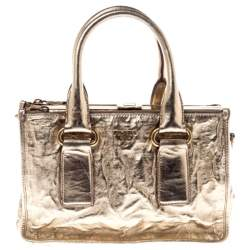 Prada Gold Patent Leather Double Zip Frame Tote