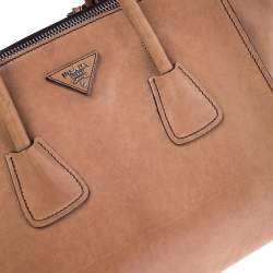 Prada Beige Leather Twin Pocket Tote
