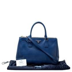 Prada Blue Saffiano Lux Leather Medium Double Zip Tote