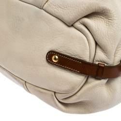 Prada Off-White Leather Buckle Satchel