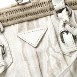 Prada Beige/Cream Canvas and Leather Kiss Lock Satchel