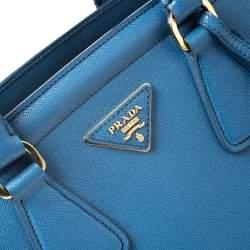 Prada Blue Saffiano Lux Leather Parabole Tote
