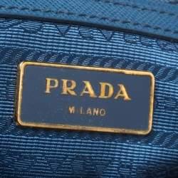 Prada Blue Saffiano Lux Leather Boston Bag