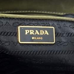 Prada Military Green Fiori Patent Leather Medium Double Zip Tote