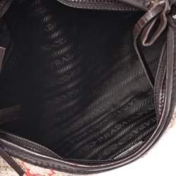 Prada Multicolor Fabric and Leather Brocade Satchel