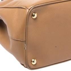 Prada Caramel Saffiano Lux Leather Medium Double Zip Tote