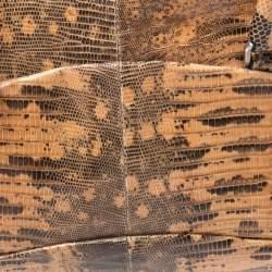 Prada Beige/Brown Lizard Frame Satchel