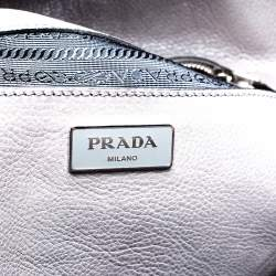 Prada Marmo Glace Leather Large Twin Pocket Tote