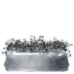 Prada Grey Patent Leather Crystal Encrusted Chain Clutch