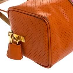 Prada Orange/Pink Perforated Leather Small Fori Striped Boston Bag